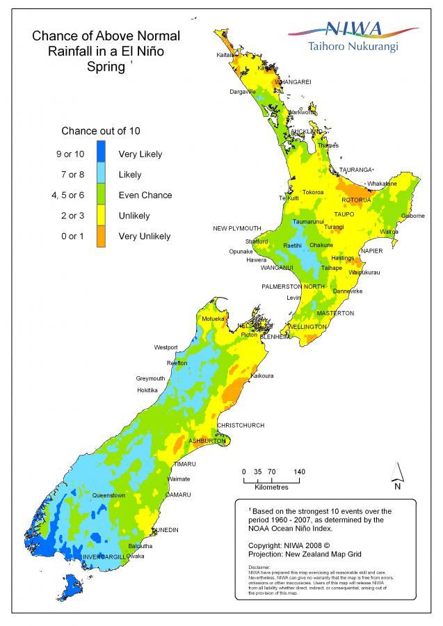 Nuova Zelanda: probabilità di precipitazioni oltre la norma in primavera in caso di El Niño